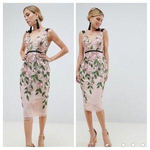 NWT ASOS Floral Embroidered Pencil Midi Dress Sz 6